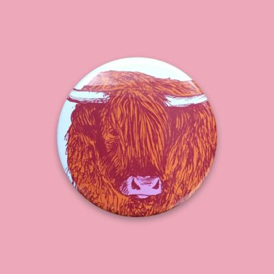 Highland Cow Pocket Mirror by Cherith Harrison
