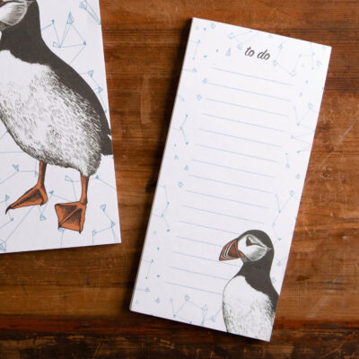 Magnetic to do list pad by Cherith Harrison featuring puffin design.