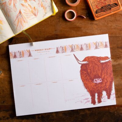 Highland Cow Weekly Planner by Cherith Harrison