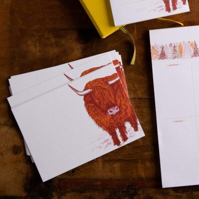 Highland Cow Note Cards by Cherith Harrison