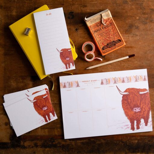 highland cow stationery by Cherith Harrison
