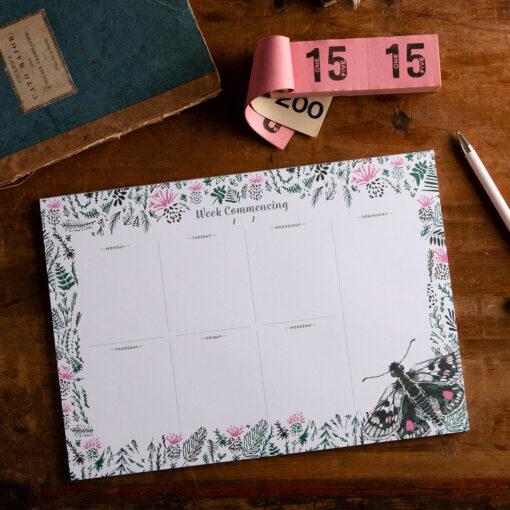 butterfly weekly planner with flower design by Cherith Harrison