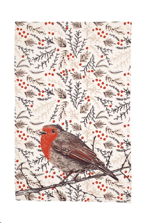 Christmas Robin Tea Towel by Cherith Harrison