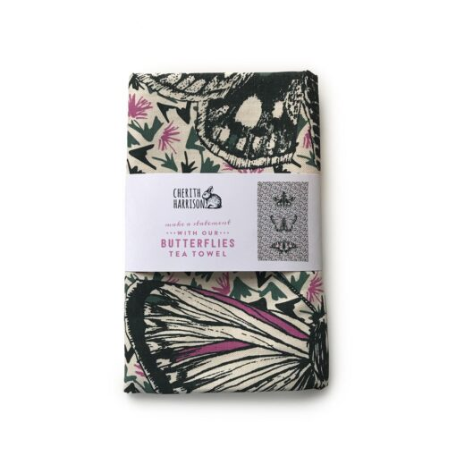 Thistles and Butterflies Tea Towel by Cherith Harrison