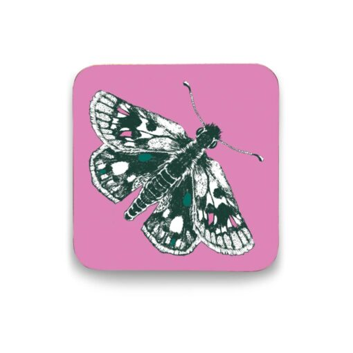 Pink butterfly coaster by Cherith Harrison