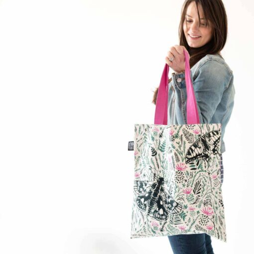 Thistles and butterflies tote bag by Cherith Harrison