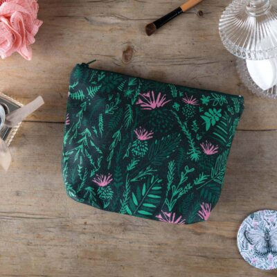 Thistles cosmetic bag designed by Cherith Harrison.