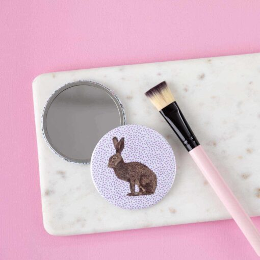 Brown hare pocket mirror by Cherith Harrison