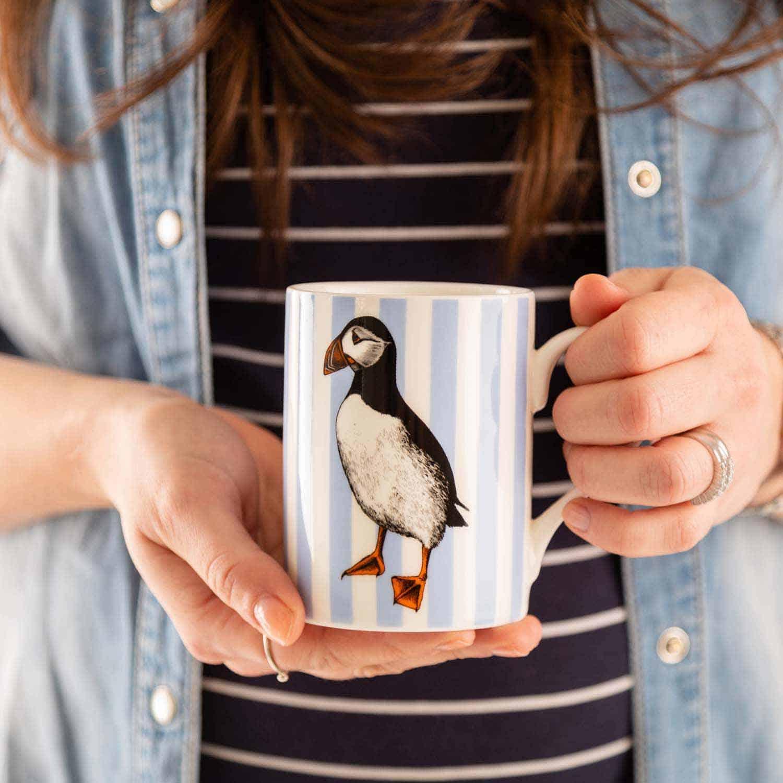 Nautical puffin mug by Cherith Harrison