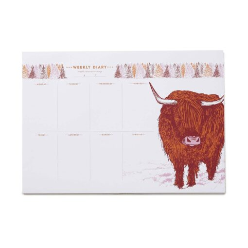 Highland Cow Weekly Planner with 50 pages by Cherith Harrison