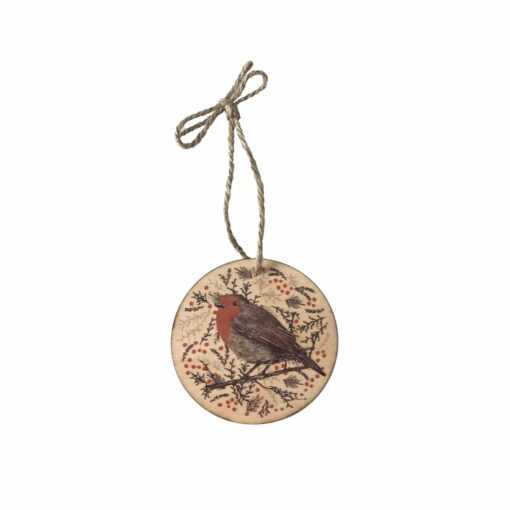 wooden christmas tree decoration with robin design