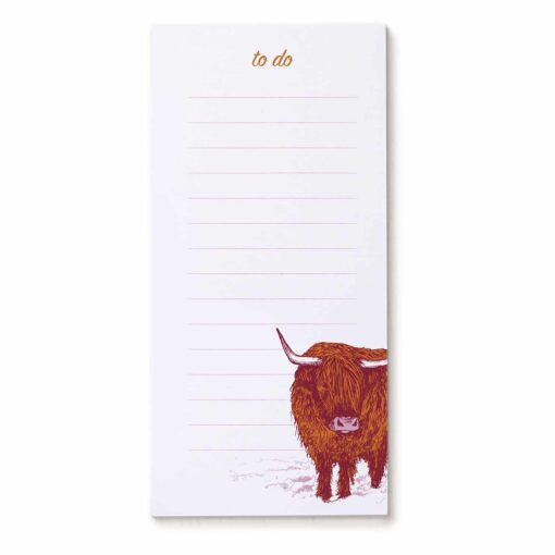 Magnetic to do list pad by Cherith Harrison featuring a highland cow design.