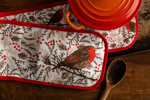 Robin oven gloves by Cherith Harrison