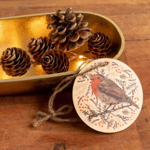 Wooden Christmas tree decoration with robin design by Cherith Harrison
