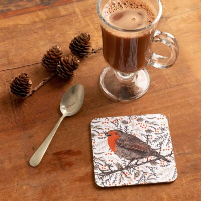 Christmas robin coaster by Cherith Harrison