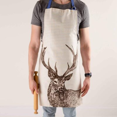 Cotton apron in Stag design by Cherith Harrison