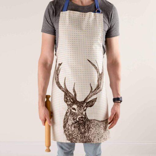 Cotton apron in Stag design by Cherith Harrison