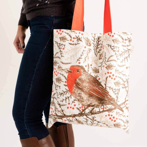 Christmas canvas shopper tote bag with robin design by Cherith Harrison