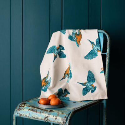 Kingfishers Tea Towel by Cherith Harrison