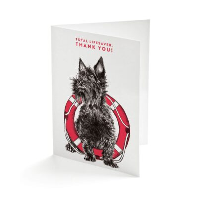 Scottie Dog Lifesaver Greetings Card by Cherith Harrison