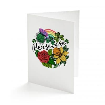 Persevere Rainbow Greetings Card by Cherith Harrison