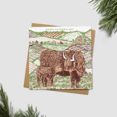 Highland Cow Father's Day Card by Cherith Harrison