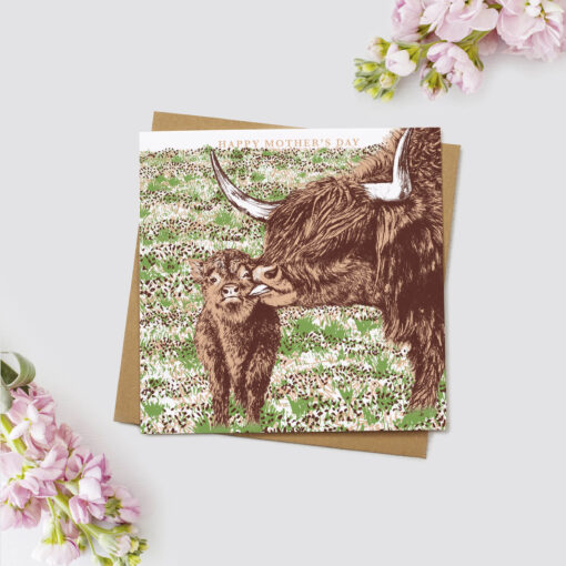 Highland Cow Mother's Day Card by Cherith Harrison