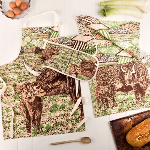 Highland Cow Love Kitchen Linens by Cherith Harrison