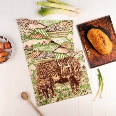 Highland Cow Love Tea Towel by Cherith Harrison