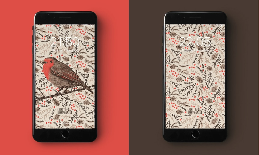 Digital wallpaper and phone background in Robin design by Cherith Harrison