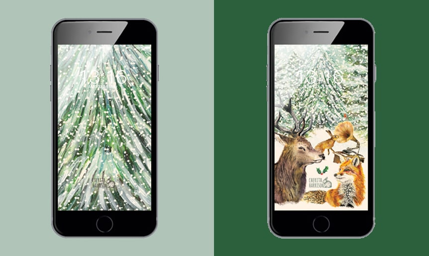 Digital wallpaper and phone background in Christmas animals design by Cherith Harrison