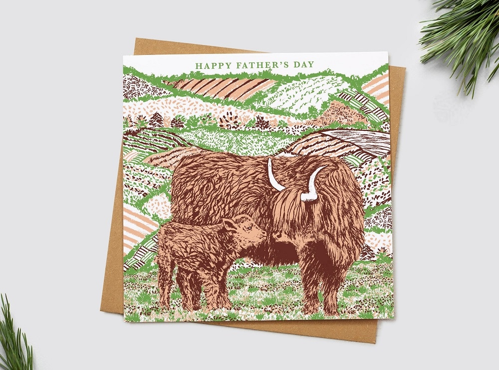 highland cow card fathers day