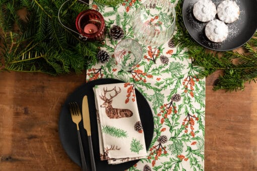 Christmas Reindeer Napkin and Christmas Garden Table Runner by Cherith Harrison