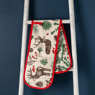 Christmas Reindeer Oven Gloves by Cherith Harrison