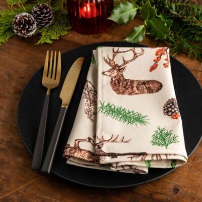 Christmas Reindeer Napkin by Cherith Harrison
