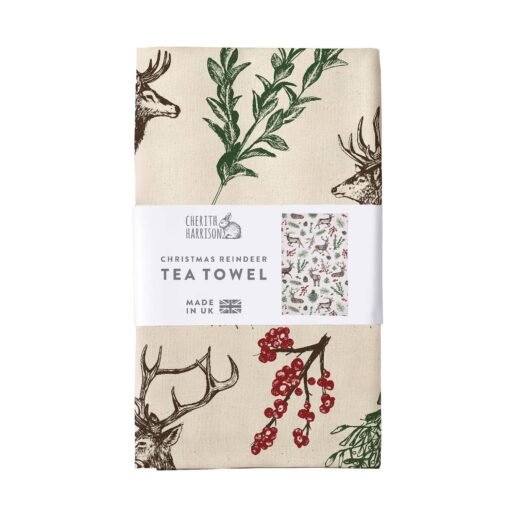 Christmas Reindeer Tea Towel made from unbleached cotton